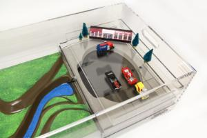 Stormwater Floodplain Simulation System, Parking Lot-Retention pond