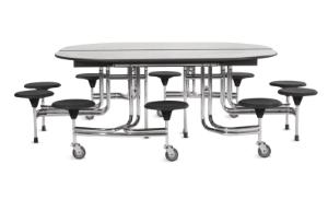 Oval Table with 10 Seats with Chrome Frame Finish