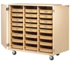 Mobile Tote Tray Cabinet, Open Style