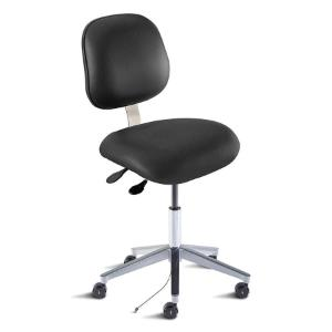 Biofit avenue series static control chair, Low seat height range with aluminum base, casters and Black Upholstery