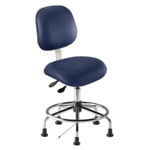 Biofit elite series static control chair, medium seat height range with steel base, affixed footring and glides