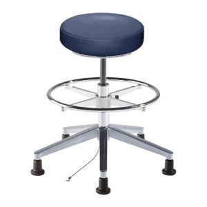 Biofit rexford series static control stool, medium seat height range with aluminum base, adjustable footring and glides