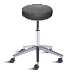 Biofit rexford series ergonomic stool, medium seat height range with aluminum base and casters