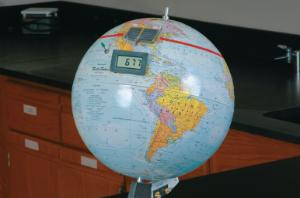 Giant Earth Model with Built-In Solar Panel Digital Display