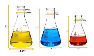 Flask narrow neck set 100, 250, 500 ml