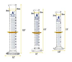 Safety pack measuring cylinder set, 50, 100, 250 ml, class A