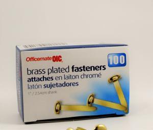 Fastener 1in brass plt magnetic pk100