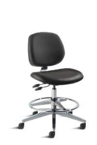 BioFit MVMT Tech Series Chair with Classic 5-Star Wide Aluminum Base, High Bench Height, Medium Backrest, Black Vinyl Upholstery, Adjustable Footring, Casters and Technical Performance Package.