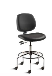 BioFit MVMT Tech Series Chair with Heavy Duty Tubular Steel Base, High Bench Height, Medium Backrest, Black Vinyl Upholstery, Affixed Footring, Casters and Technical Performance Package.