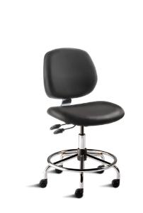 BioFit MVMT Tech Series Chair with Heavy Duty Tubular Steel Base, Medium Bench Height, Medium Backrest, Black Vinyl Upholstery, Affixed Footring, Casters and Technical Performance Package.