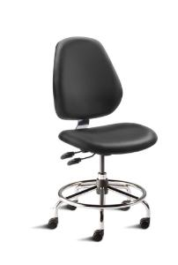 BioFit MVMT Tech Series Chair with Heavy Duty Tubular Steel Base, Desk Height, Tall Backrest, Black Vinyl Upholstery, Affixed Footring, Casters and Technical Performance Package.