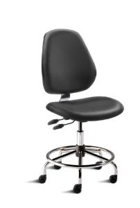 BioFit MVMT Tech Series Chair with Heavy Duty Tubular Steel Base, Medium Bench Height, Tall Backrest, Black Vinyl Upholstery, Affixed Footring, Casters and Technical Performance Package.