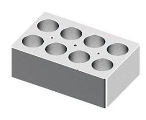 Block for dry bath, holds 8×50 ml tubes