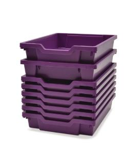 Shallow (F1) Storage Tray in Plum Purple Stacked