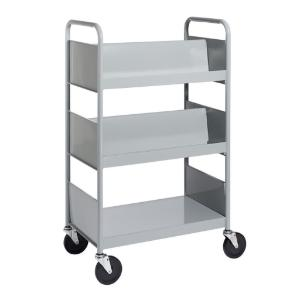 Gray Cart with Two Double-Sided Sloping Shelves, One Flat-Bottom Shelf