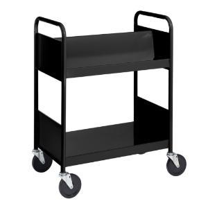 Black Cart with One Double-Sided Sloping Shelf, One Flat Bottom Shelf