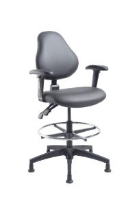 """VWR® Upholstered Lab Chairs with Arms, Bench Height, 2"""" Nylon Glides"""