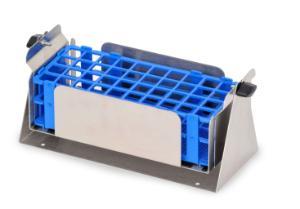 Pivoting test tube rack