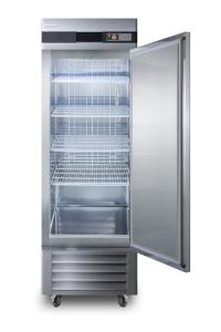 Medical laboratory series freezer with solid door and casters, 23 cu.ft.