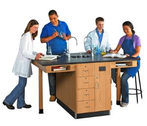 Student Workstations, Double-Faced Units Phenolic Top, Door/Drawer Configuration